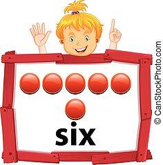 girl, six, bannière, nombre