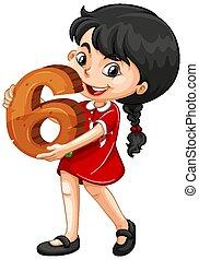 girl, six, math, nombre, tenue, asiatique