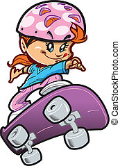 girl, skateboard