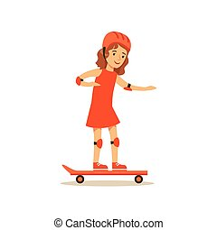 Girl Skateboarding, Kid Practicing Different Sports And Physical Activities In Physical Education Class