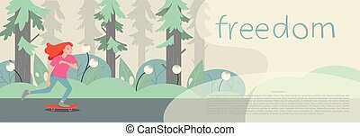 Girl skater character on longboard. Banner template. Vector flat cartoon illustration
