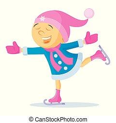 Girl skating Cartoon character Winter Vector illustration