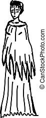 Girl sketch, illustration, vector on white background.