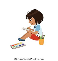 Girl Sketching In Notebook Colorful Simple Design Vector...