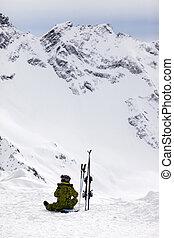 girl, skieur
