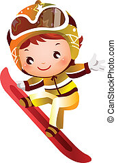 Girl skiing  - There is a girl jumping with snowboard.