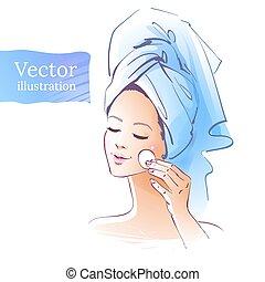 Girl. Skin care. Vector illustration. Isolated.