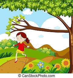 Girl skipping on the dirt road illustration