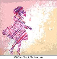 girl., skizze, vektor, abstrakt, abbildung