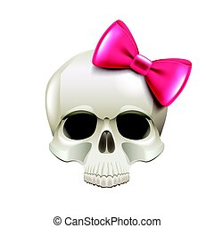 Girl skull with pink bow isolated on white vector