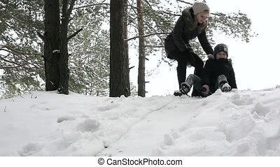 Girl sledding down the hill 96fps