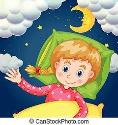 Girl sleeping at night time