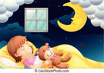 Girl sleeping at nighttime illustration