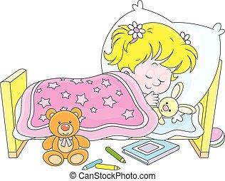 Girl sleeping - Little girl sleeping in her bed