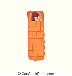 Girl sleeping in an orange sleeping bag, view from above vector Illustration on a white background