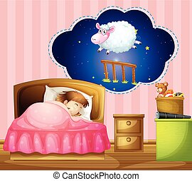Girl sleeping in bed  illustration