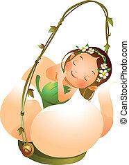 Girl sleeping in Flower