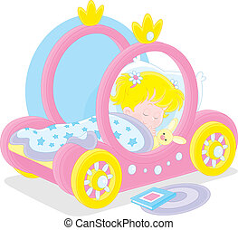 Little girl sleeps in her bed made as a carriage of a princess