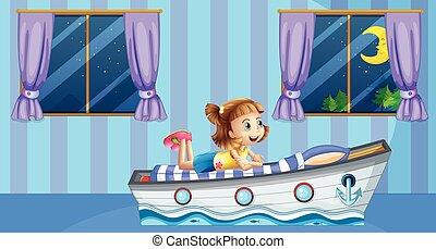Girl sleeping on bed in blue room