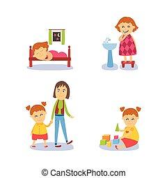 Girl sleeping, washing, playing, walking with mom