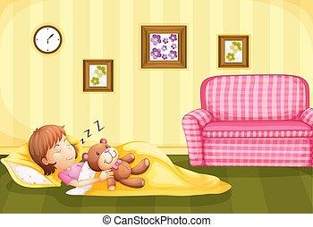 Girl sleeping with teddybear on the floor