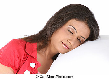girl sleeping with the pillow