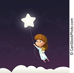 Girl sleeps and flying through the night sky in her dream