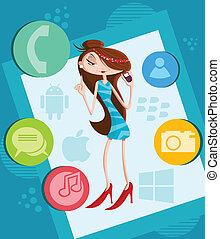 girl, smartphone, appeler