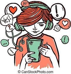 girl, smartphone, jeune, écouteurs