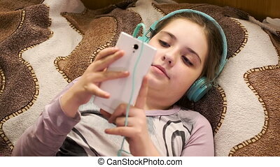 girl, smartphone, musique écouter, écouteurs