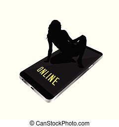 girl, smartphone, silhouette, illustration, séance