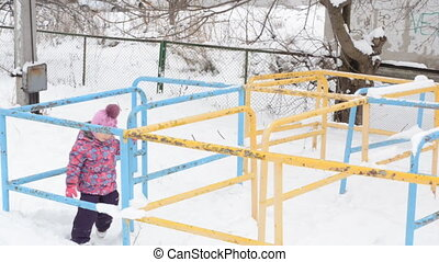 Girl Snake Run on Playground at Winter Day