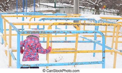 Girl Snake Run on Playground at Winter Day