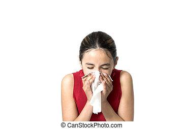 sneezing - girl sneezing