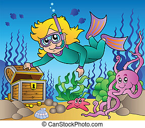 Girl snorkel diver exploring sea - vector illustration.