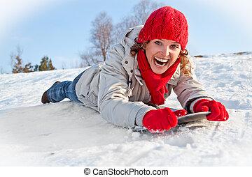 girl, snowboard, ensoleillé, heureux, jour, jeune