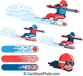 Girl snowboarder in motion - options in different outfits with drawings on the boards.