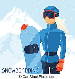 Girl snowboarder on mountain winter landscape background.