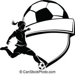 Girl Soccer Shield - Vector black and white illustration of...