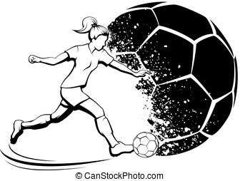 Girl Soccer with Splatter Ball - Black and white...