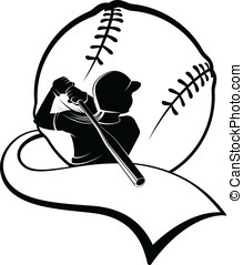 Girl Softball Batter with Pennant - Black and white vector...