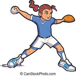 Girl Softball Baseball Pitcher with Ponytail and Proper Form