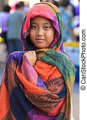 girl, soie, anse, coloré, vêtements