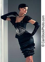 girl, soir, noir, perlé, robe