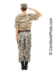 Girl - soldier in the military uniform - Young girl-soldier...