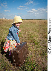 girl, solitaire, dos, suitcase., vue