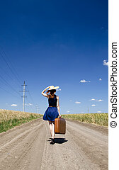 girl, solitaire, valise, pays, road.