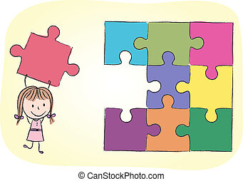 Girl solving puzzle - Illustration of girl solving puzzle -...