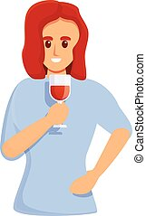 Girl sommelier icon, cartoon style