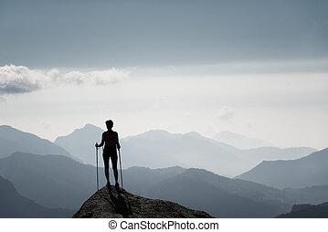 girl, sommet, montagne